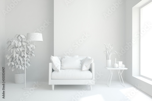 Mock up of stylish room in white color with armchair. Scandinavian interior design. 3D illustration - 303836147