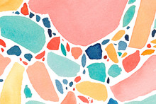 Watercolor Terrazzo Banner In Bright And Colorful Colors. Hand Drawn Ornament For Wrapping Paper With Colorful Drops And Dots.