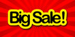 canvas print picture - big sale label in yellow and red background