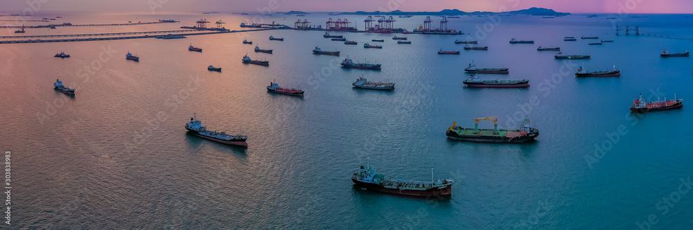 Obraz Oil/Chemical tanker ships over open sea at seaport Thailand. Oversea transportation, Import-Export Business and Logistic. fototapeta, plakat