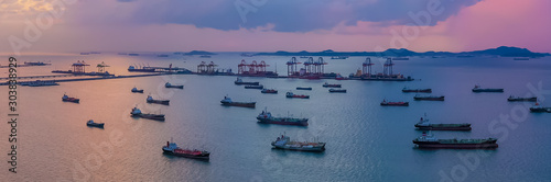 Oil/Chemical tanker ships over open sea at seaport Thailand Canvas Print