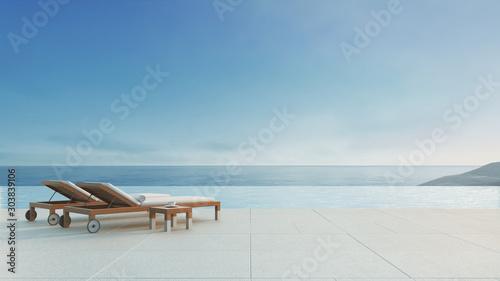 Cuadros en Lienzo  Beach lounge - ocean villa with pool and Sea view / 3d render