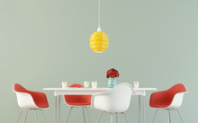Simple Dining Room With A Tabl...