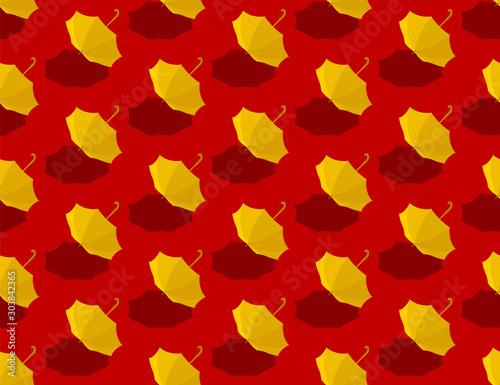 Obraz na plátně Yellow umbrella 3d isometric seamless pattern, Hong Kong protest extradition leg