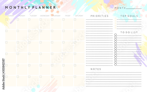 Obraz Vector monthly planner template with hand drawn shapes and textures in pastel colors.Organizer with place for goals,to do list,priorities and notes.Trendy minimalistic style.Abstract modern design. - fototapety do salonu