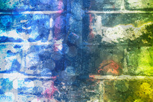 Abstract Grunge Background. Creative Background With Old Brick Wall And Bokeh