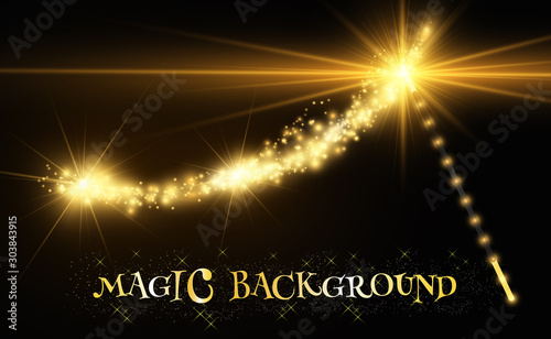 Realistic magic wand with bright sparkles on a transparent background Wallpaper Mural