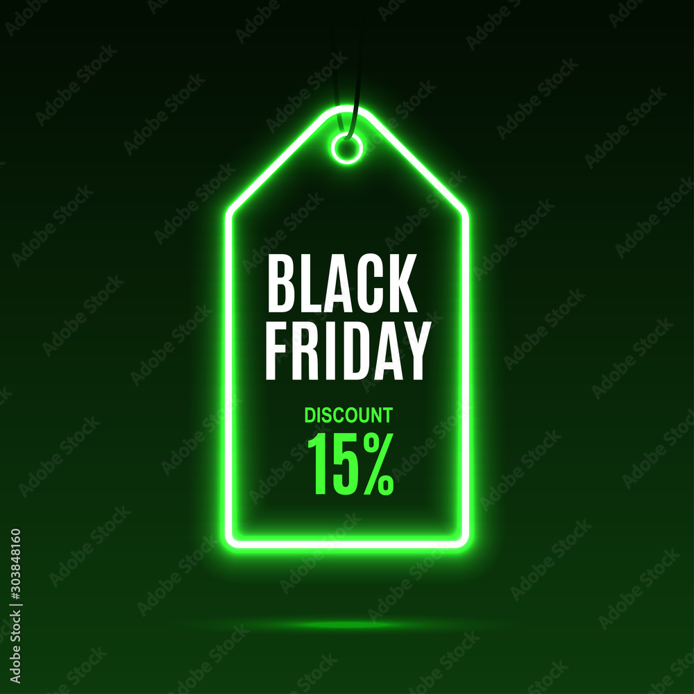 Fototapety, obrazy: Neon label. Black friday at a discount. EPS10 vector.