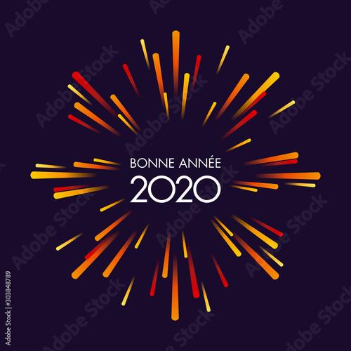 Canvastavla Carte de vœux 2020, dynamique et festive, avec un feu d'artifice aux couleurs chaudes sur un fond noir pour fêter la nouvelle année