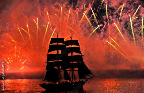 Scarlet sails is a celebration of school-leavers in St. Petersburg on Neva river. Russia #303849156