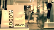 Bags With Bogota Text. Shopping In Colombia Related 3D Animation