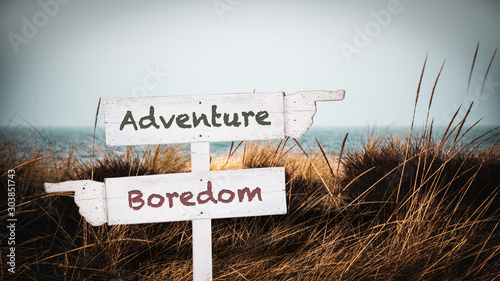 Street Sign to Adventure versus Boredom Canvas Print