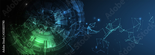 Obraz Abstract technology background with plexus effect. Vector illustration. - fototapety do salonu