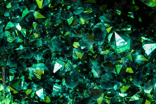 Emerald, Sapphire or Tourmaline green crystals Canvas Print