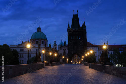 Prague, Charles Bridge in night Canvas Print