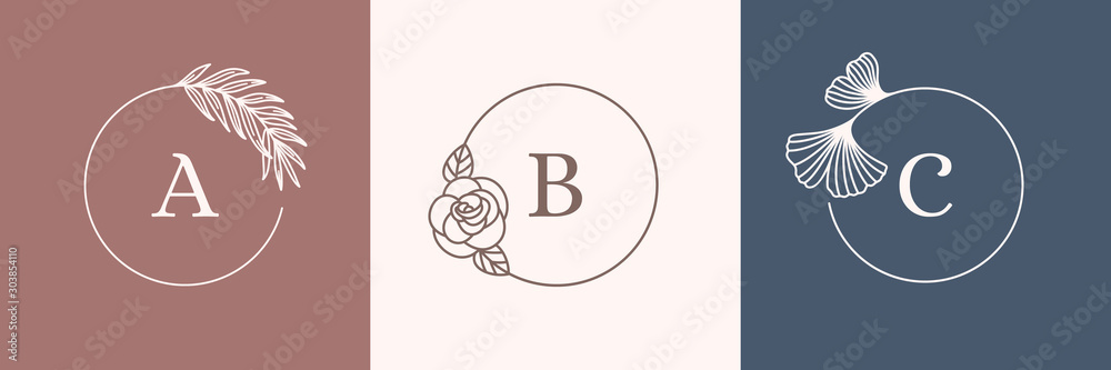 Fototapeta A set of Round Botanical frames in a trendy minimal linear style. Vector abstract logo design template palm leaf, rose and Ginkgo biloba leaf. Flower Frame with copy space for text or letter ABC