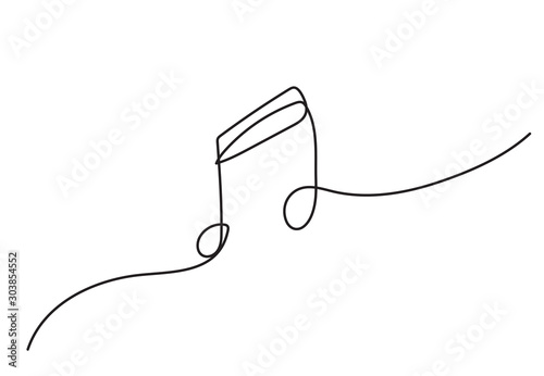 Tablou Canvas one line drawing of music notes isolated vector object continuous simplicity lineart design of sign and symbols