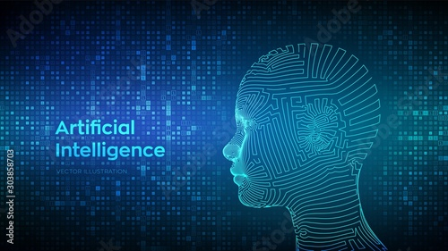 Obraz AI. Artificial intelligence concept. Abstract wireframe digital human face on streaming matrix digital binary code background. Human head in robot digital computer interpretation. Vector illustration. - fototapety do salonu