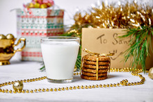 Christmas Glass With Milk And ...