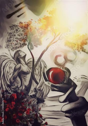 Tela  Eden, angelo, dio, serpente, mela