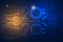 Happy New Year 2020 Design With Futuristic Technology Background. Vector Illustration