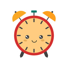 Clocks.Alarm Clock Doodle In Cartoon Style On White Background