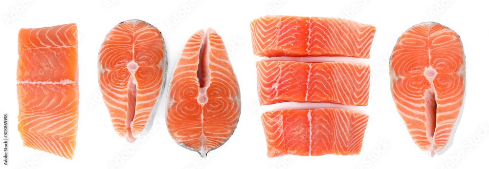 Fotografia Set of fresh raw salmon on white background, top view