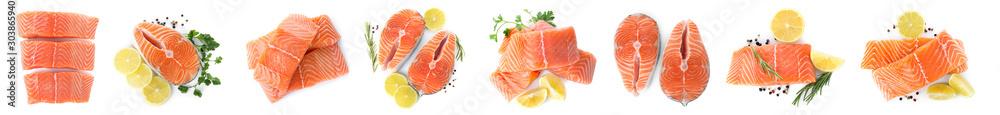 Fototapeta Set of fresh raw salmon on white background, top view. Fish delicacy