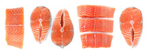 Set Of Fresh Raw Salmon On Whi...