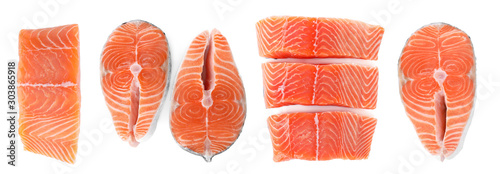 Foto Set of fresh raw salmon on white background, top view