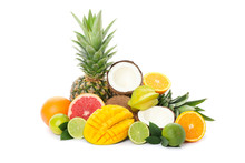 Pile Of Exotic Fruits Isolated...