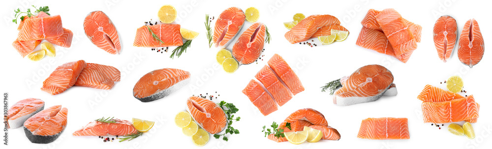 Fototapeta Set of fresh raw salmon on white background. Fish delicacy