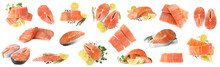 Set Of Fresh Raw Salmon On White Background. Fish Delicacy