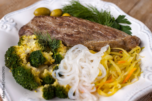Grilled cooked beef meat, broccoli, vegetable spaghetti shirataki, olives ketoge Wallpaper Mural