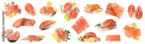 Set of fresh raw salmon on white background. Fish delicacy Fototapete