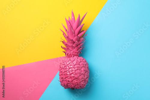 Plakat Pomalowany różowy ananas na kolorowym tle
