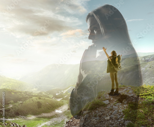 Silhouette of businesswoman with landscapes on background, double exposure Tablou Canvas