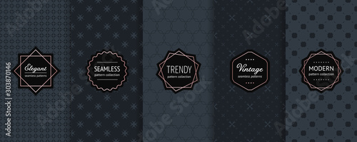 Foto  Luxury black seamless pattern collection