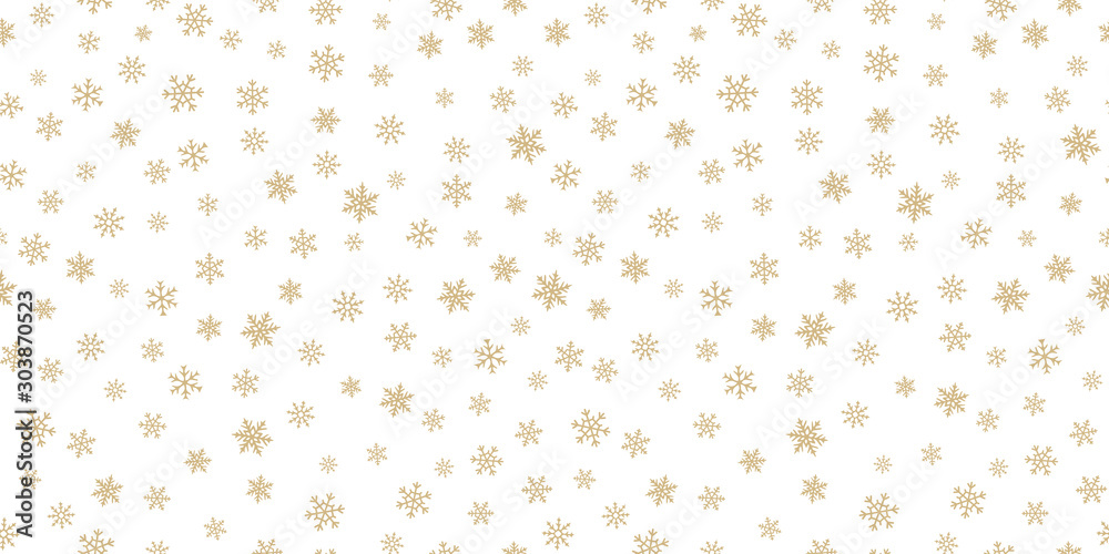 Fototapeta Winter golden snowflakes seamless pattern. Luxury vector Christmas background