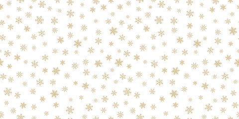 Winter golden snowflakes seamless pattern. Luxury vector Christmas background