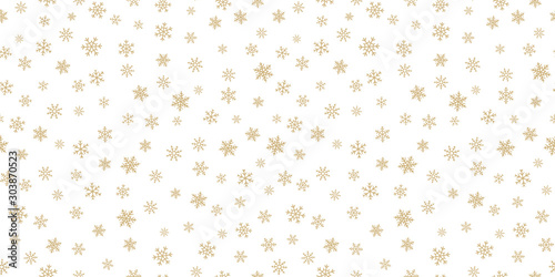 Fototapeten Künstlich Winter golden snowflakes seamless pattern. Luxury vector Christmas background