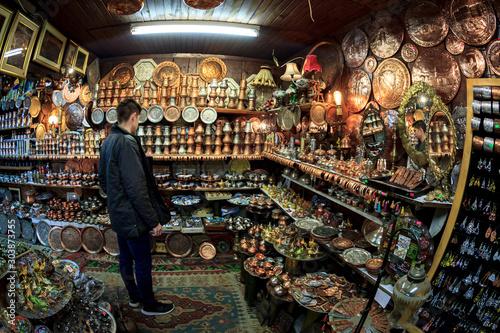 The abundance of oriental jewelry at the bazaar in Sarajevo Wallpaper Mural