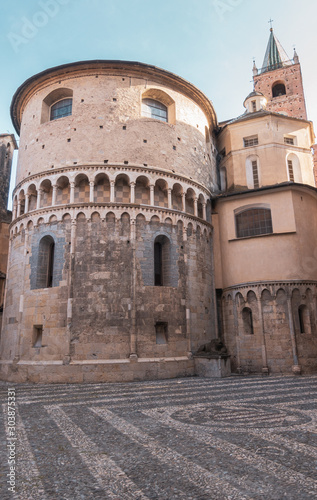 Canvas Print Churches and towers of old city Albenga, Italy
