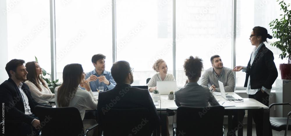 Fototapeta Professional team. Business people having brainstorm meeting