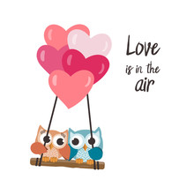 Valentine Owls In Love Flying With Balloons