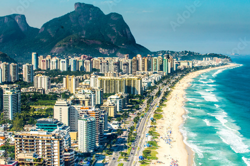 Aerial view of Barra da Tijuca Beach, Rio de Janeiro, Brazil Canvas Print