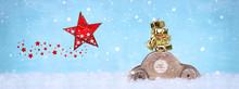 Holzauto Mit Goldenen Weihnachtsgeschenken