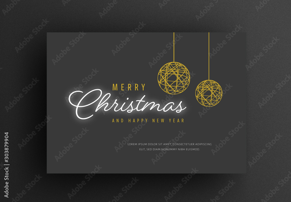 Fototapety, obrazy: Christmas Card Layout with Dark Background and Gold Festive Elements