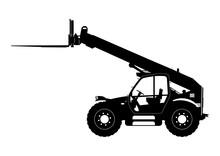 Telescopic Handler. Telehandler Silhouette. Side View. Flat Vector.