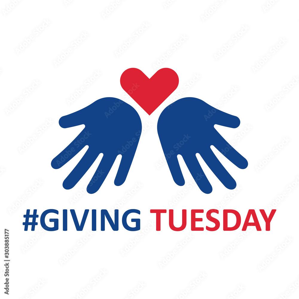 Fototapeta Giving Tuesday. Helping hand with heart shape